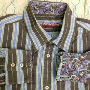 Robert Graham Dress Shirt Green Blue Gray Striped